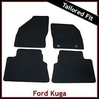 FORD KUGA Mk1 2008-2013 Oval Eyelets Tailored Carpet Car Floor Mats BLACK