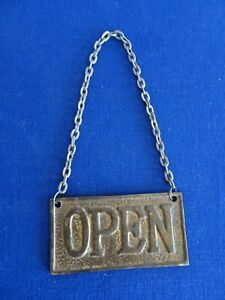 Vintage Cast Brass OPEN CLOSED Door Sign Outhouse?  Steel Hanger CUTE