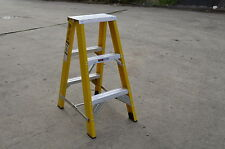 Double sided Fibreglass Step Ladder 900MM 3 feet foot ft 120KG Blue Color