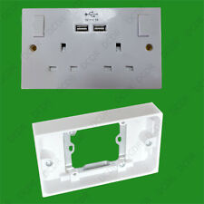 1x 13A 2 Gang doble caja posterior Adaptador Conversor de Enchufe de Pared & Doble Usb Frontal