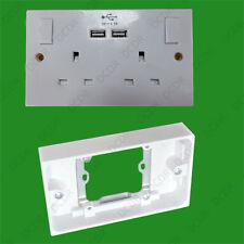 1x 13A 2 Gang Double Wall Socket Converter Adaptor Back Box & Front Dual Usb
