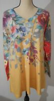 Soft Surroundings NEW Womens Small Floral Top Long Sleeves Yellow Multi NWT $79