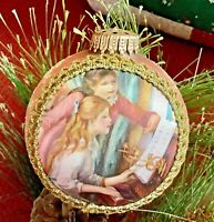 "VTG 1993 Krebs Masters on Silk Glass 4"" Ornament Renoir At The Piano Glitter"