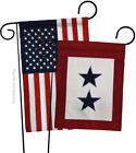 Two Blue Star Service - Applique Decorative USA Garden Flags Pack GP108409-P2AB