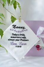 Grandmother of the Bride Gifts Personalized Embroidered Handkerchief for Grandma