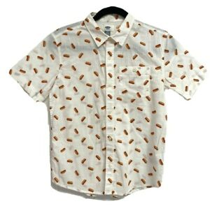 Old Navy youth boys shirt short sleeve button front hotdogs size L/G 10-12