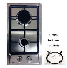 30cm Built-in Gas hob 2 Burners Cooktop Stainless steel + WOK LPG Domino-S NEW