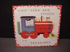 1940s BEARVILLE EXPRESS TRAIN-LOCOMOTIVE Vintage VALENTINE BOOKLET BEAR Engineer