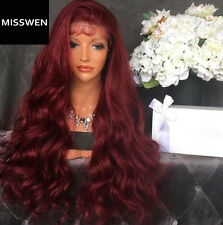 "24"" Heat Resistant Lace Front Wig Synthetic Hair Wavy Wine Red With Baby Hair"