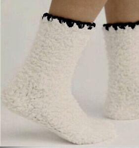 Free People Socks Super Thick Ivory White Furry Grip Slipper Black Trim OS NWT