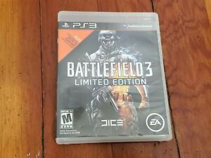 PS3 Battlefield 3 Limited Edition Video Game Case Disc Manual Cleaned Tested