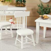 1:12 DIY Dollhouse Miniature Dining Furniture Wooden White Decor Chair R9T3