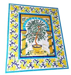 Fliesenbild Olivenbaum 75x90cm handbemalte Fliesen Bordüren Küchenfliesen Mosaik