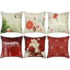 "6pcs 18"" Christmas Cushion Cover Pillow Case Cotton Linen Xmas Sofa Throw Decor~"