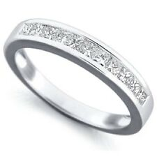 2.5mm  0.50Ct Princess Diamond Channel Half Eternity Ring in 9 K W.G .