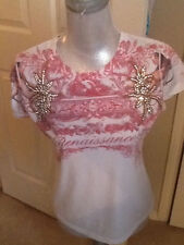 Love renaissance angel crystal sparkly embellished tee shirt t-shirt M nwt