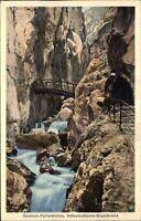 Garmisch PARTENKIRCHEN ~1920/25 Höllenthalklamm Bogen-Brücke Waterfall Wasserf.