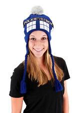 1X Doctor Who Tardis Image Knitted Laplander Beanie Hat- NEW, UNWORN Cap