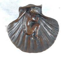 SIGNED Noel RaBier, BRONZE STATUE CUTE SLEEPING BABY IN THE SEA SHELL ASHTRAY