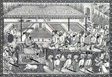 Antique print Durbar Shah noble court India Nepal 1884