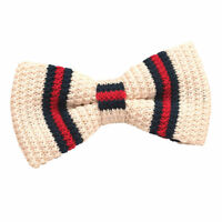 DQT Knit Knitted Thin Stripe Cream with Red Navy Mens Pre-Tied Bow Tie