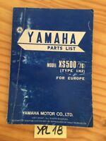 Yamaha XS500 1976 1H2 XS 500 500XS catalogue pièces détachées parts list moto