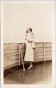 HM Queen Elizabeth on SS 'Princess Marguerite' Vancouver BC RPPC Postcard H3