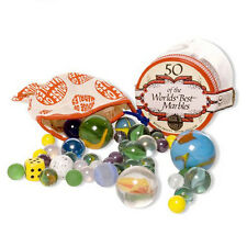 Tub of 50 Glass Marbles Bag Kids Game Outdoors Indoor Fun Traditional Childrens