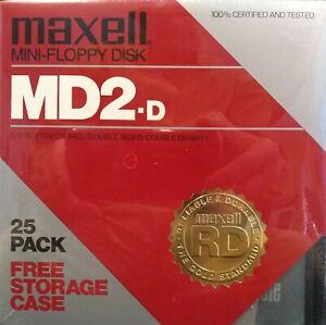 "Maxell MD2D Mini-Floppy Disks 5-1/4"" Dbl-Sided, 25 pcs New Sealed w storage case"