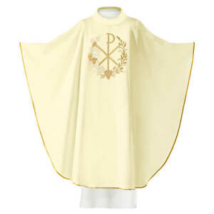 Gothic White Embroidered Priest Chasuble Vestment & Stole With PX Symbol