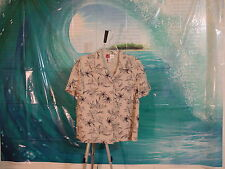 Hawaiian Ladies, size 10, Cuffed SS Black/White Floral, 55 Linen/45 Rayon
