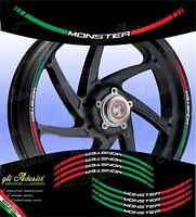 Kit Adesivi Cerchi Moto Ruote DUCATIMONSTER 696 796 821 1200 tricolore italia