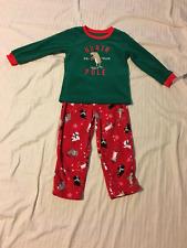 CARTERS: Boy's 2-Piece Long Sleeve/Legs Pajama Set, Holiday Theme: Green/Red, 4