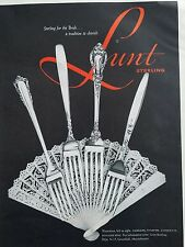 1957 Lunt sterling silver Carrillon Starfire Eloquence Summer Song silverware ad
