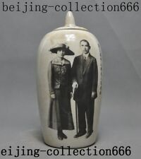 "9""old Chinese porcelain Sun Zhongshan&wife Text Tanks Crock Bottle Pot Vase Jar"