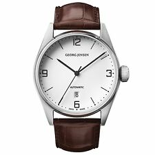 Georg Jensen 42mm Automatic Watch. White dial /Alligator strap - Delta Classic