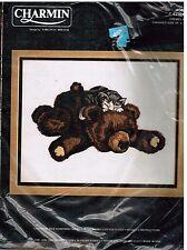 "Charmin Vintage Crewel Kit Catnap Kitten Kitty Bear by Virginia Miller 14"" x 11"""