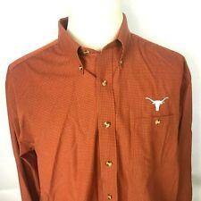 Antigua Mens XL Long Sleeve Button Down Texas Longhorn Shirt Burnt Orange