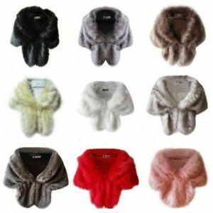 Faux Fur Long Shawl Stole Wrap Shrug Scarf Elegant Women Winter Warm Scarf Shawl