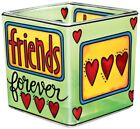 Friends Forever Tea Light Candle Holder Hand Painted Glass AMIA Retired Hearts