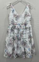 Maeve Women's Floral White Garden Tea V-Neck Lined Dress Sz 2P