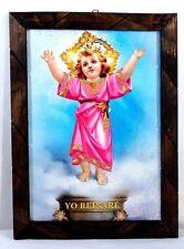 "Painting/print glassed Divino Nino Jesus Mexico folk art wood framed 17""X13"" Lg"
