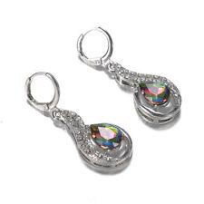 18K White Gold Filled - Mystic Rainbow Topaz Hollow Waterdrop Women Earrings