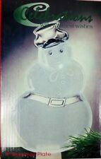 """Candy Dish Frosted Snowman Christmas Plate 8"""" Celebrations Crystal Clear"""