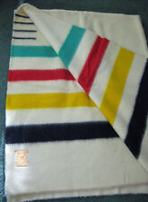 "Vintage HUDSON BAY 4 Point 100% WOOL BLANKET 68"" X 92"" Made in England AWESOME!"