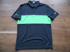 NWT Nike Golf Shirt Polo Gray with Green Chest Stripe FireRock CC Size M
