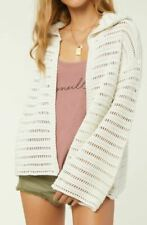O'Neill COASTLINE Womens Open Front Hoodie Cardigan Sweater Small Off White NEW