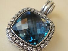 $1975 DAVID YURMAN ,SS MELANGE LARGE HAMPTON BLUE TOPAZ DIAMOND ENHANCER