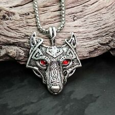 Antique Silver Tone Celtic Viking Wolf Head With Red Eyes Pendant Necklace