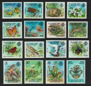 ZES Seychelles Fish Turtle Butterfly Birds Octopus 16v inscript '1981' 1981